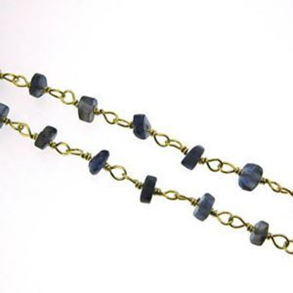 Gold over Sterling Silver Iolite Rosary Chain By the Foot