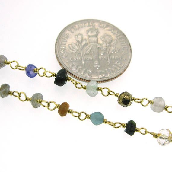 Gold over Sterling Silver Multi Stone Rosary Chain By the Foot