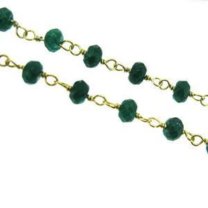 Gold over Sterling Silver Emerald Dyed Rosary Chain By the Foot