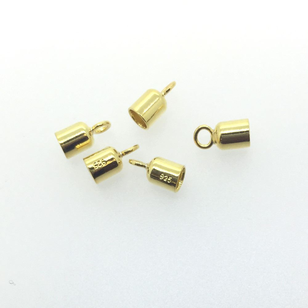 Gold Over Sterling Silver Tube Ends - Smooth Round Tube Ends with Rings - 3mm- 10 pieces
