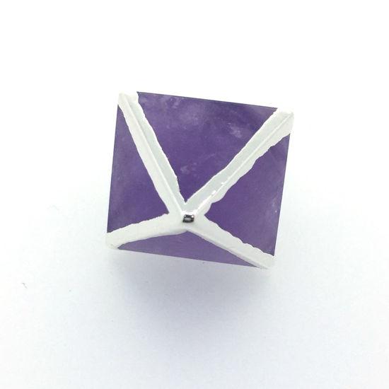 Gemstone Pendant, Octahedron Gemstone, 8 sides gemstone Silver Pendant,Small Gemstone Rock Pendant- 25mm