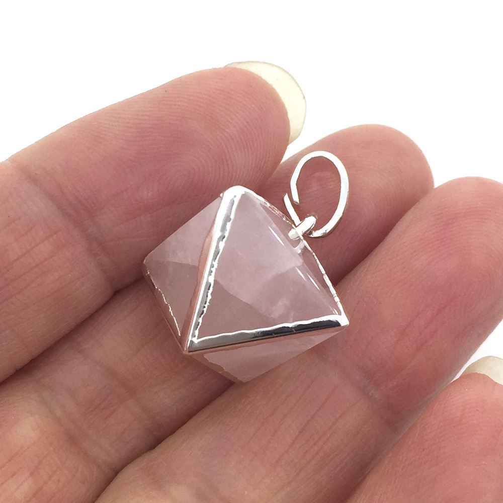 Gemstone Pendant, Octahedron Gemstone, 8 sides gemstone Silver Pendant,Small Gemstone Rock Pendant- 25mm