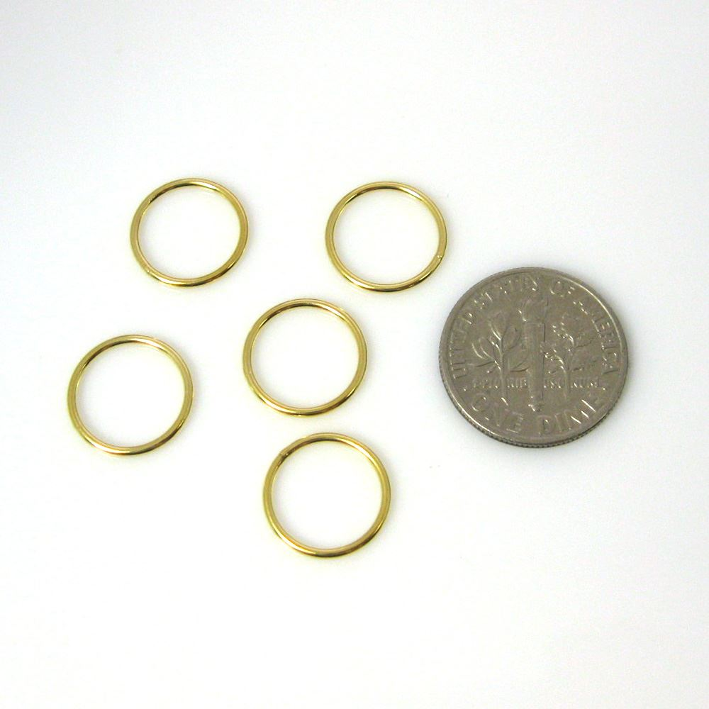 Vermeil Closed Jump Rings,19ga, 12mm (sold per pkg of 10pcs)