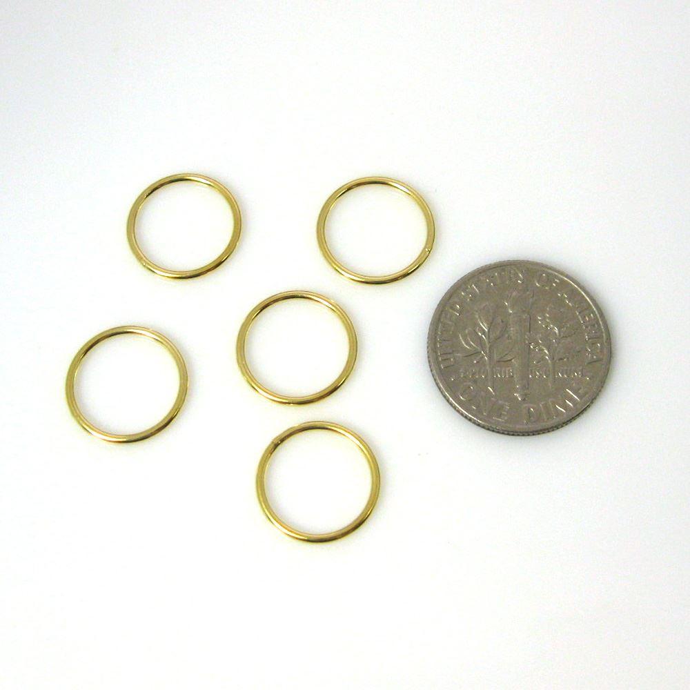 Vermeil Closed Jump Rings,19ga, 12mm (sold per pkg of 10pcs)