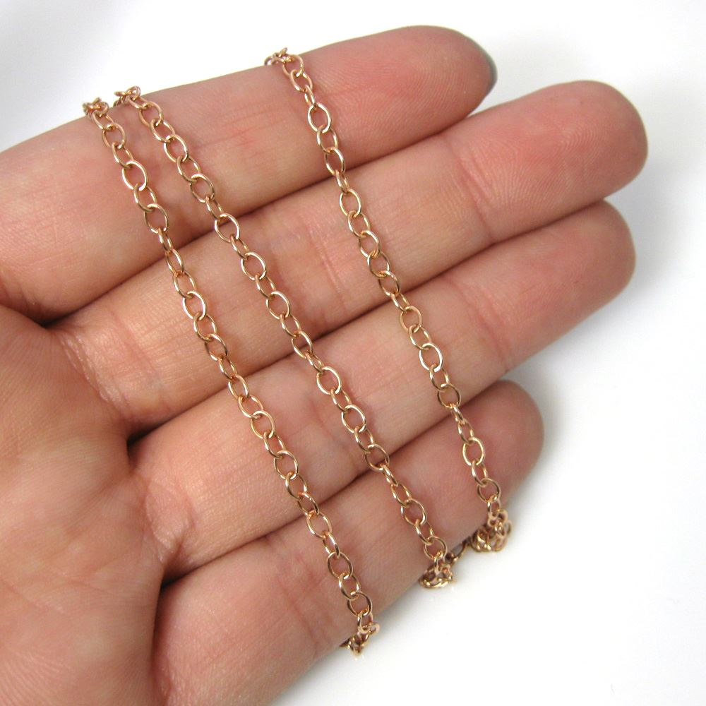 Rose Gold Plated Over Sterling Silver Chain Necklace - Rose Gold Bracelet, Anklet - 4mm Cable Oval Chain Necklace - 4mm Strong Cable Chain- All Sizes