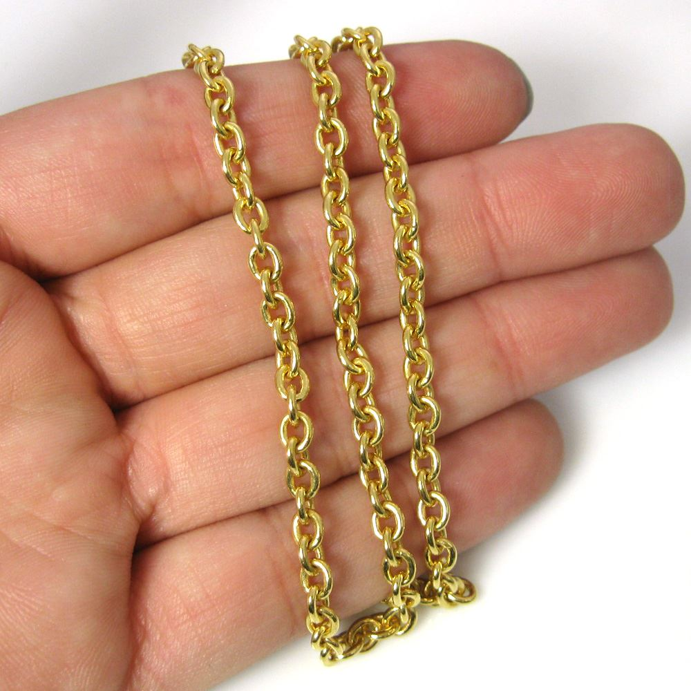 Gold Plated Chain Necklace - Gold Plated Bracelet, Anklet - Heavy Chain Necklace - 5x4mm Cable Oval Strong Cable Chain- All Sizes