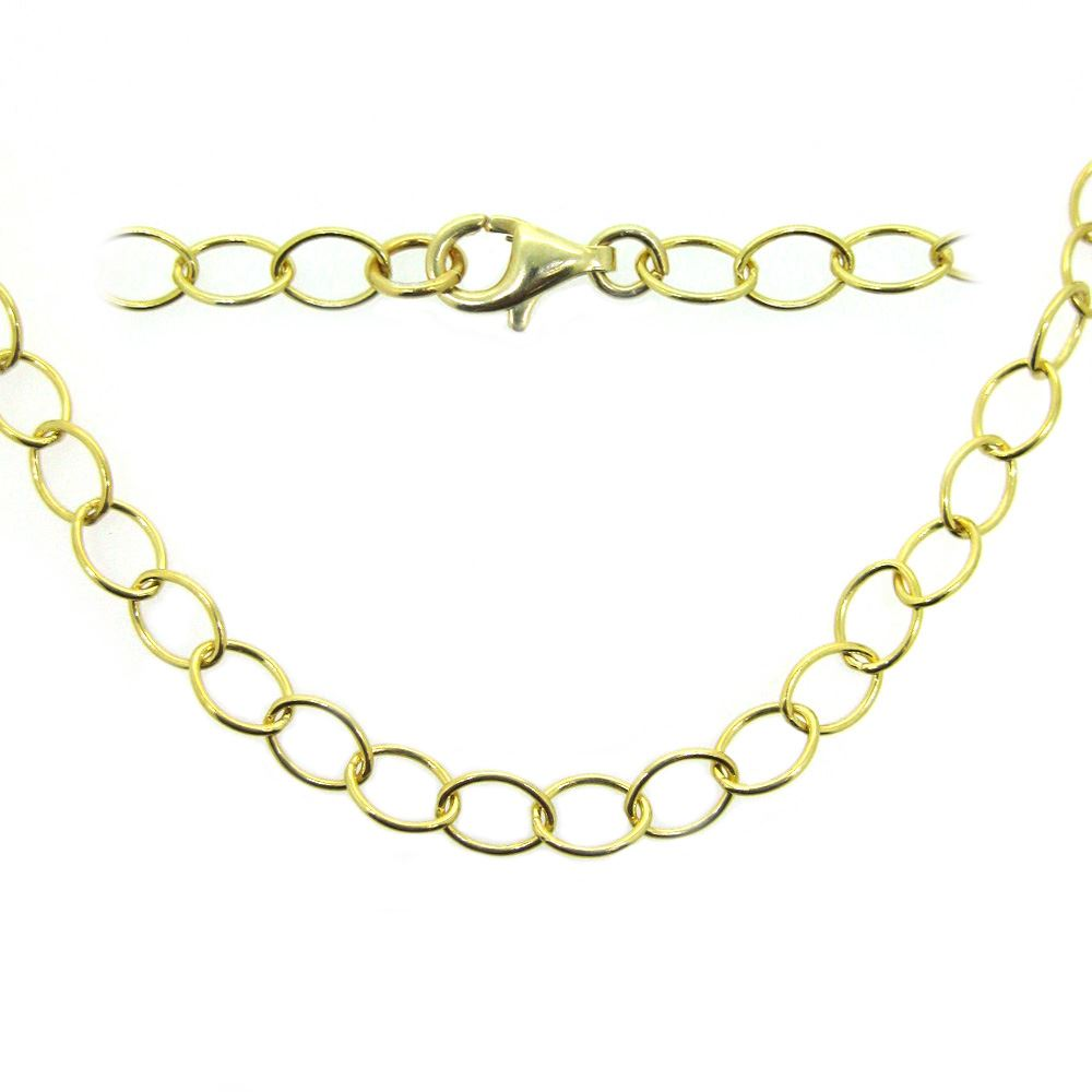 Gold Plated Over Sterling Silver Chain Necklace - Gold Plated Bracelet, Anklet -5 x 4 Thick Round Oval Cable Chain Necklace - All Sizes
