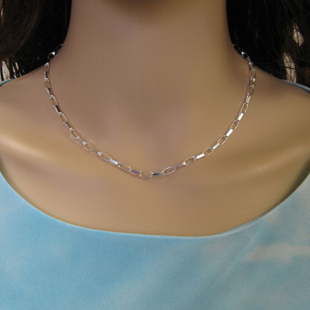 Sterling Silver Chain Necklace - Sterling Silver Bracelet, Anklet - Big Flat Oval Rolo Chain Necklace - All Sizes