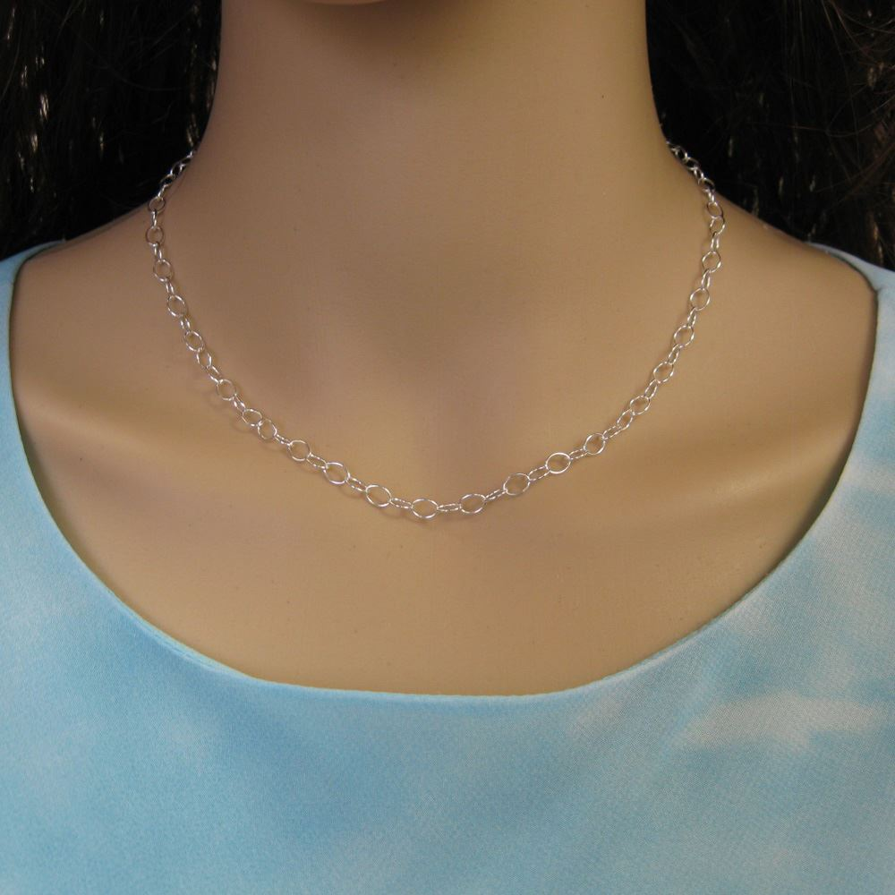 Sterling Silver Chain Necklace - Bracelet, Anklet -5 x 4 Thick Round Oval Cable Chain Necklace - All Sizes