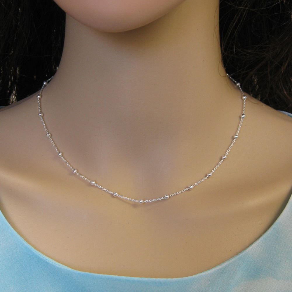 Sterling Silver Chain Necklace - Bracelet, Anklet - Cable Chain with 3mm Ball Chain- All Sizes