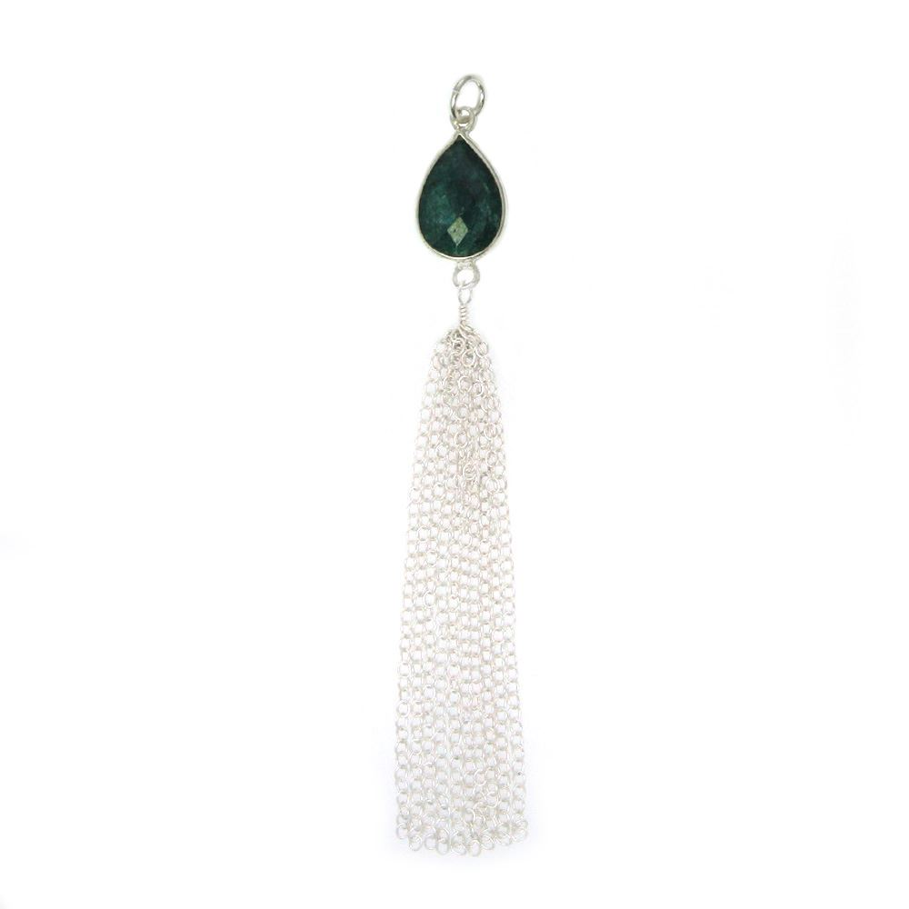 Tassel- Silver Tassel with Bezel Gem ,Sterling Silver Teardrop Gemstone Tassel - Tassel Charm-Jewelry Findings-Jewelry Supply -88mm