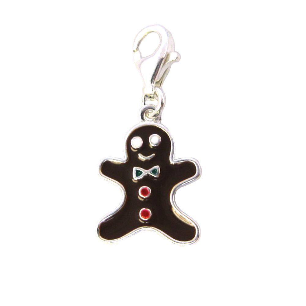 Sterling silver enamel Gingerbread Man charm with clasp - charm bracelet charms