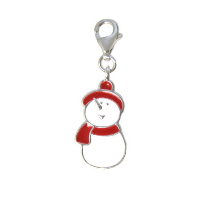 Sterling silver enamel Snowman charm with clasp - charm bracelet charms