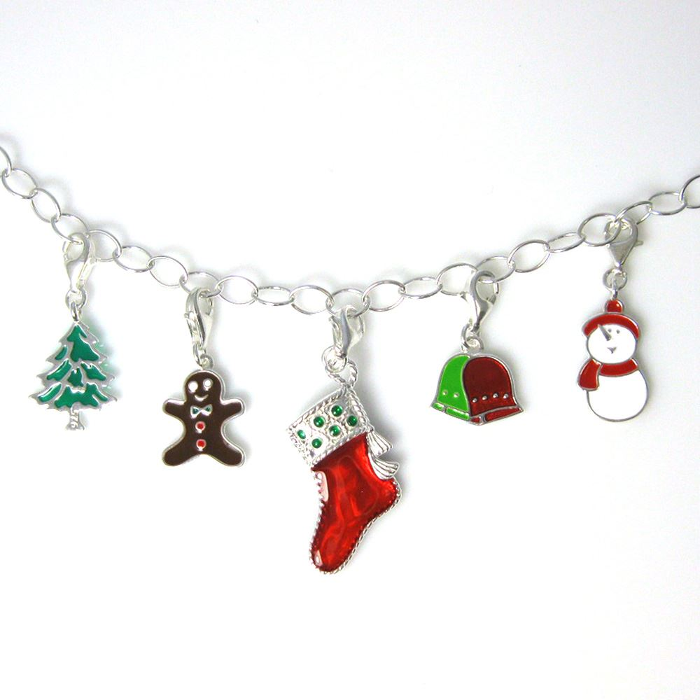 Sterling silver enamel Christmas tree charm with clasp - charm bracelet charms