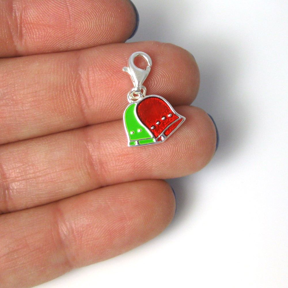 Sterling silver enamel bells charm with clasp - charm bracelet charms