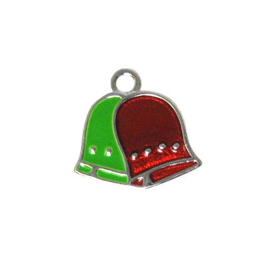 Sterling Silver Enamel Bells charm, Christmas Charm