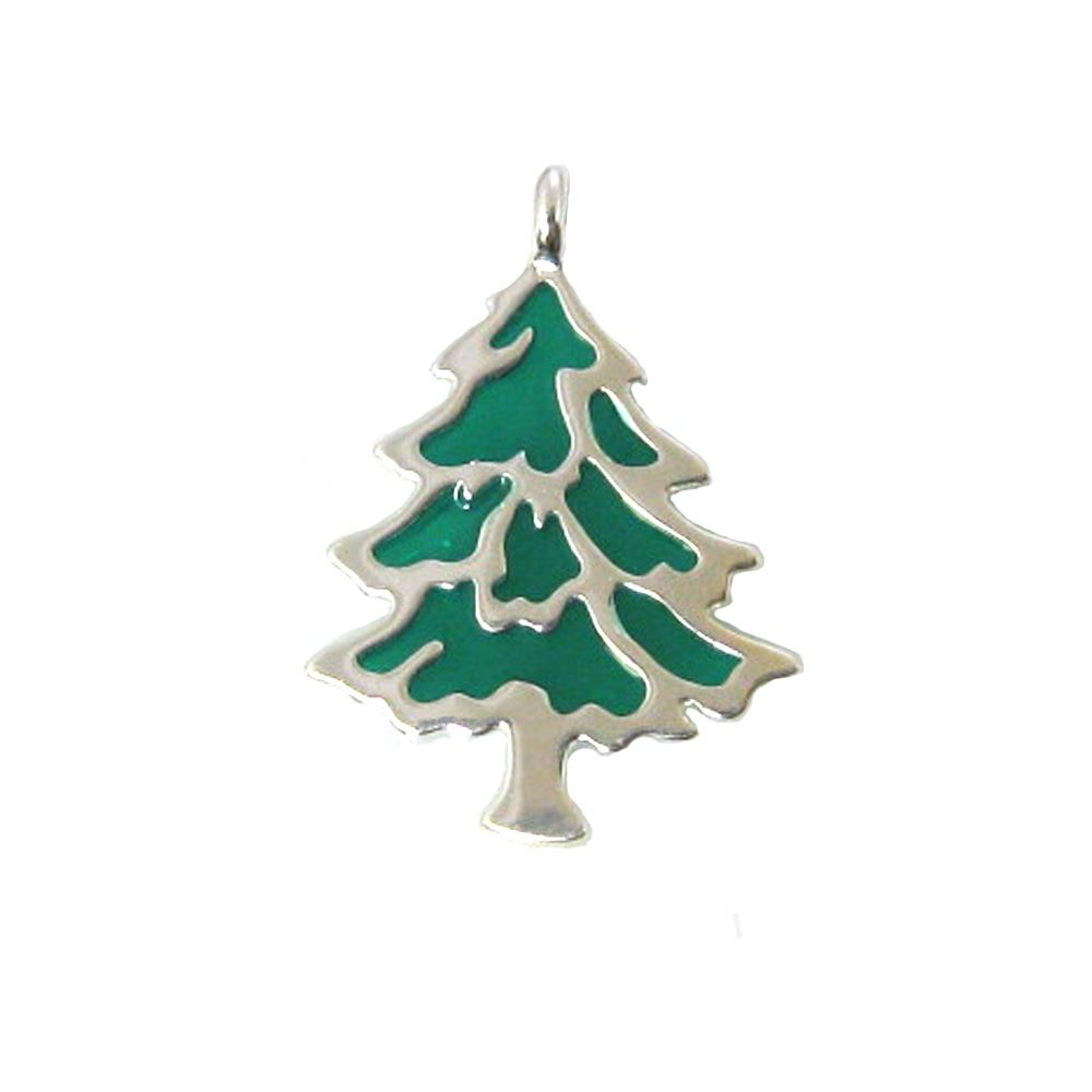 Sterling silver enamel Christmas tree charm