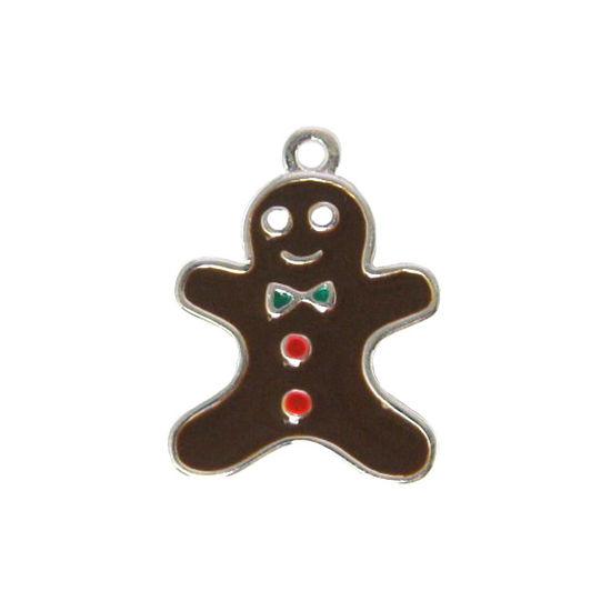 Sterling silver enamel Gingerbread Man charm