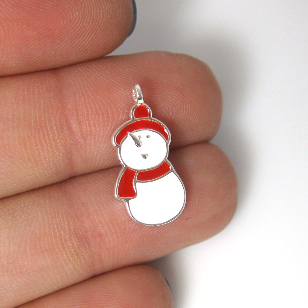 Sterling silver enamel Snowman charm, Christmas Charm