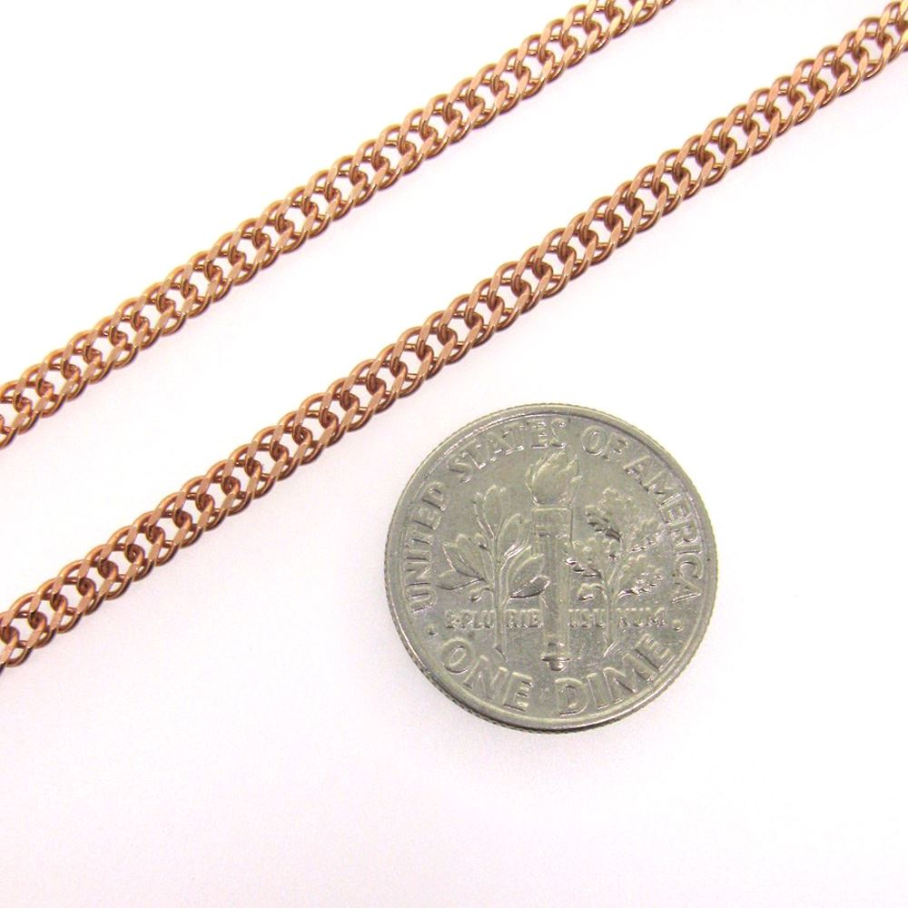 Rose Gold Plated Sterling Silver Chain-Double Diamond Cut Curb Chain- Unfinished Chain, Bulk Chains (sold per foot)