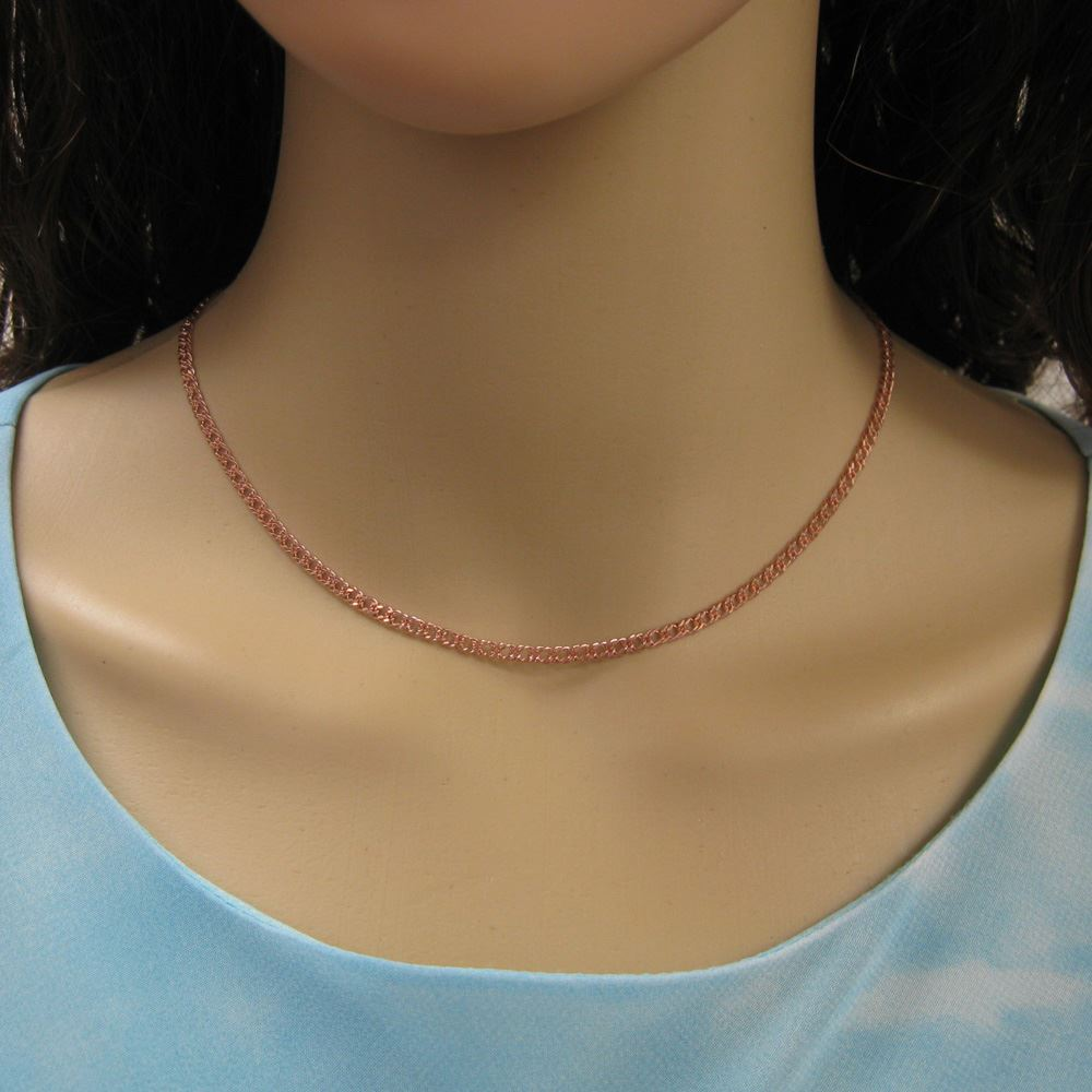 Rose Gold Plated Sterling Silver Necklace - Silver Bracelet - Silver Anklet - Double Diamond Cut Curb Link Chain -All Sizes
