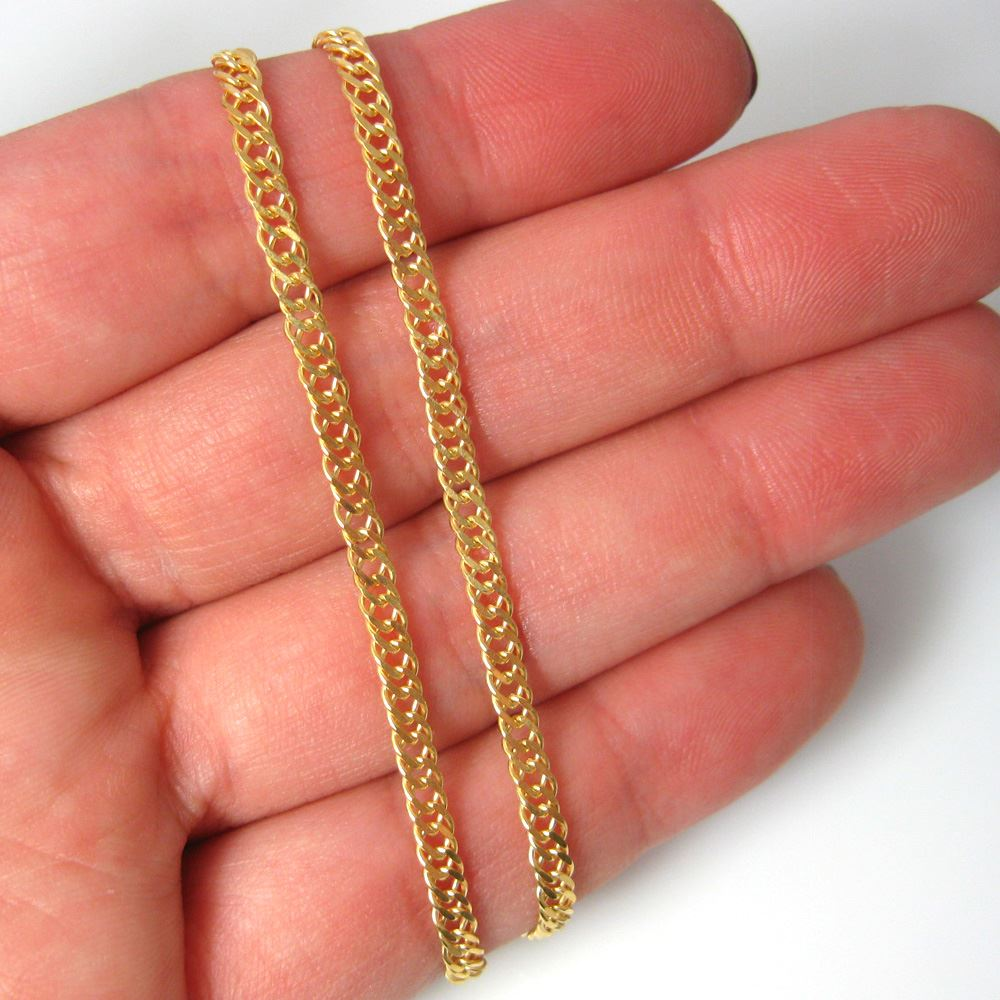 Gold Plated Sterling Silver Chain-Double Diamond Cut Curb Chain- Unfinished Chain, Bulk Chains (sold per foot)
