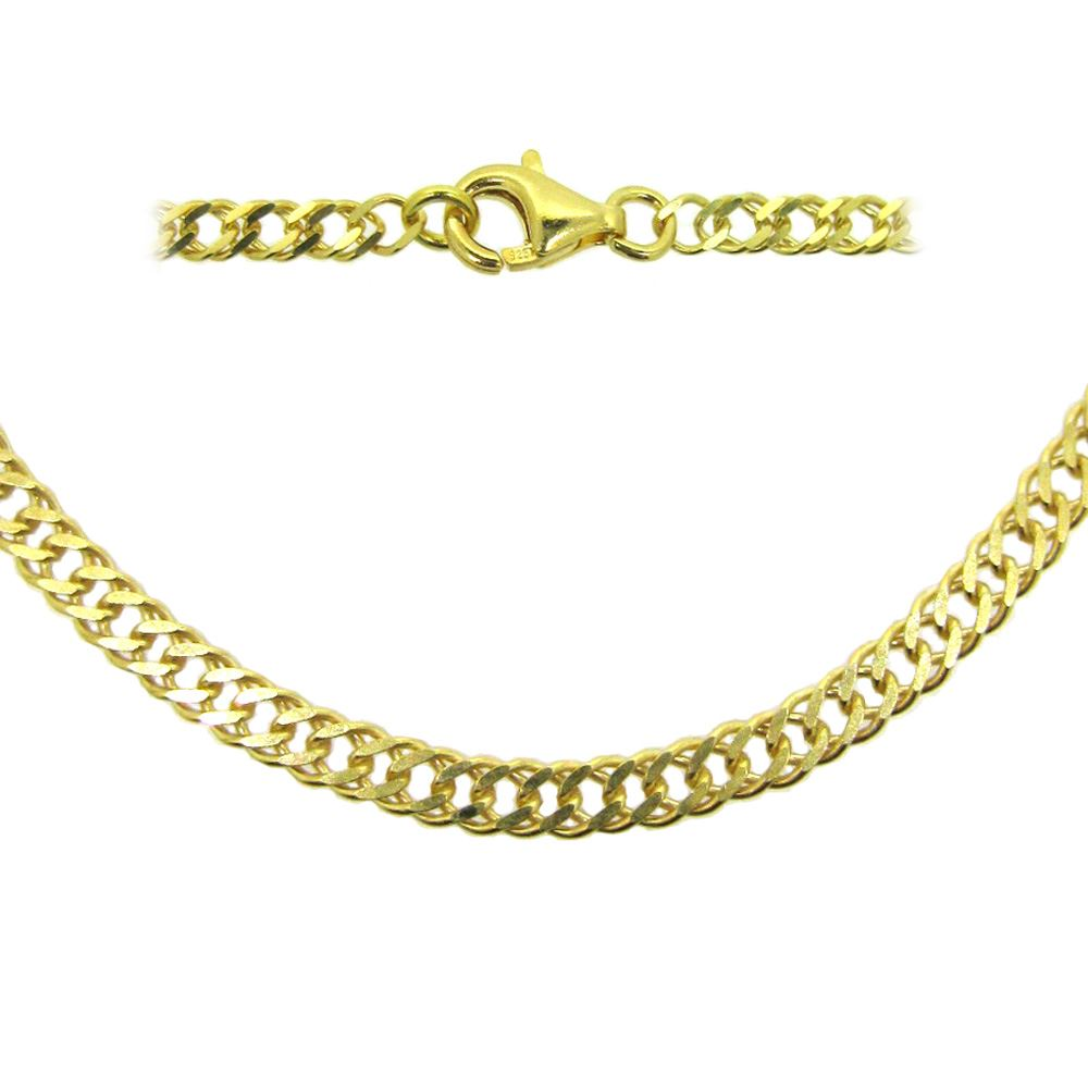 Gold Plated Sterling Silver Necklace - Bracelet, Anklet - Double Diamond Cut Curb Link Chain -All Sizes