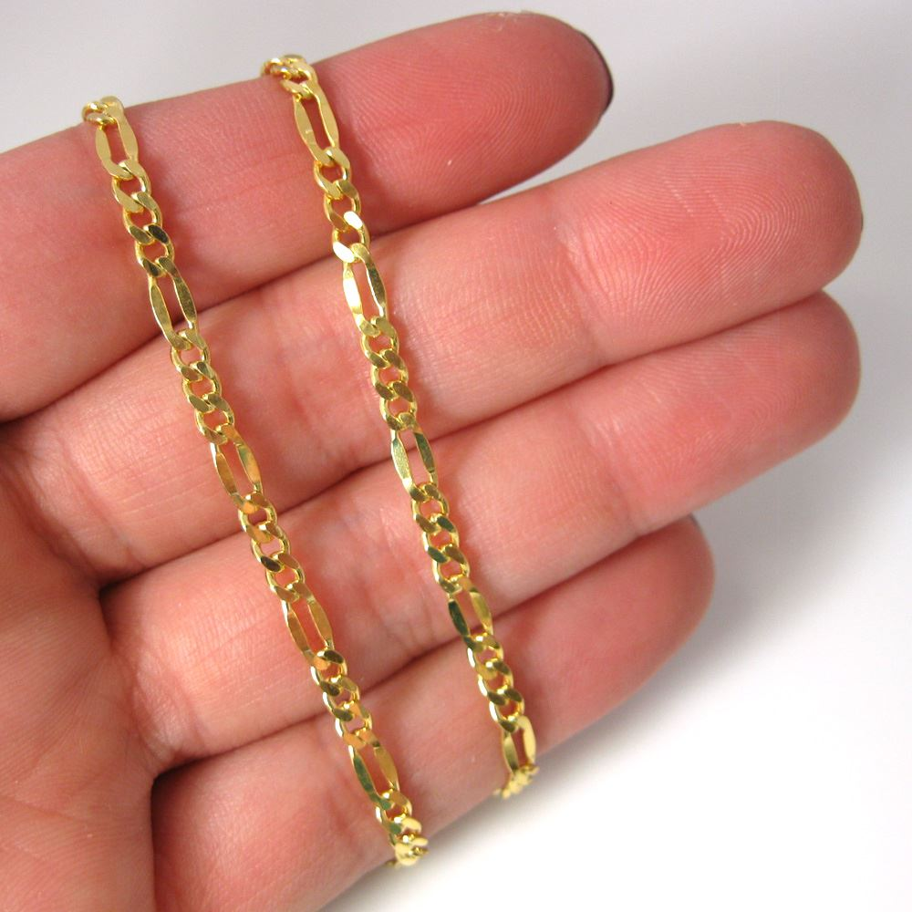 Gold Plated Sterling Silver Chain - Fancy Figaro Chain - Men's Chains - Unisex Chains - Unfinished Chain, Bulk Chains - sold per foot