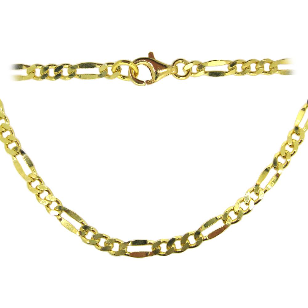 Gold Plated Sterling Silver Necklace Chain - Bracelet, Anklet - Fancy Figaro Chain -All Sizes