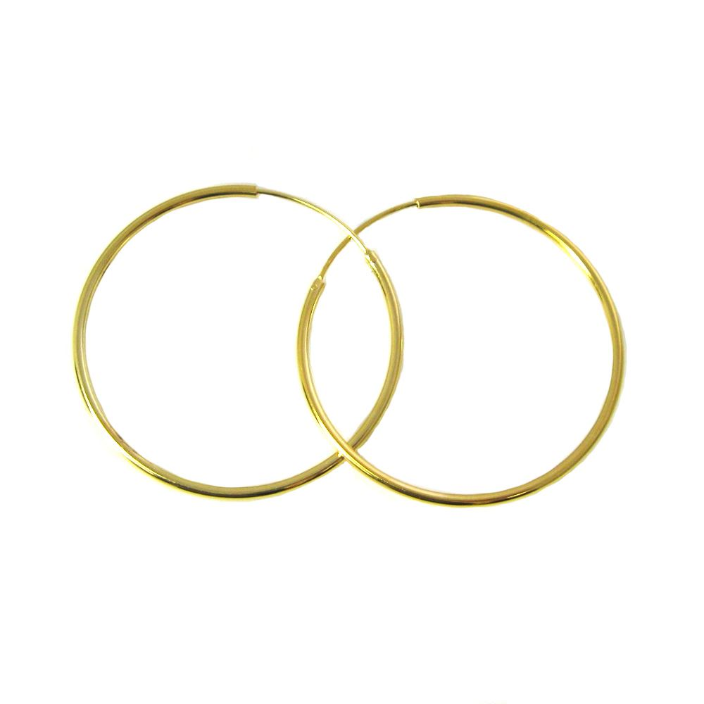 Gold Plated Sterling Silver Earrings- Strong Hoops- 40mm(sold per pair)
