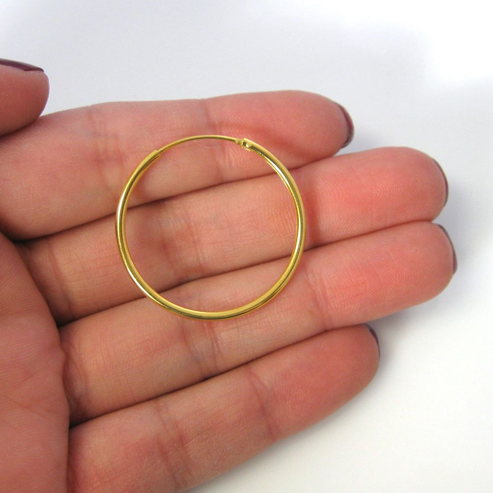Gold Plated Sterling Silver Earrings- Strong Hoops- 30mm(sold per pair)