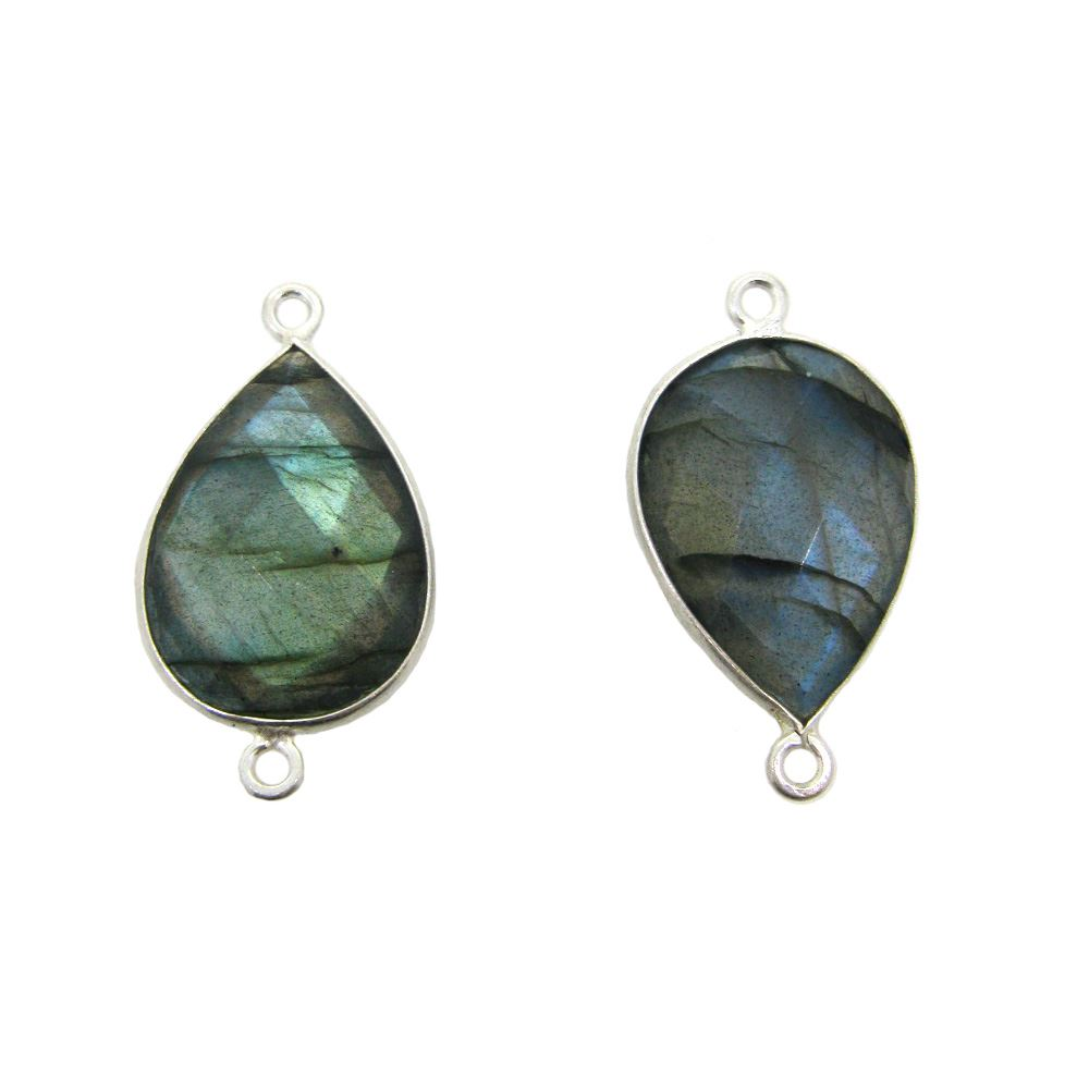 Bezel Gemstone Links - Sterling Silver - (13x18) Faceted Pear Shape - Labradorite (Sold per 2 pieces)