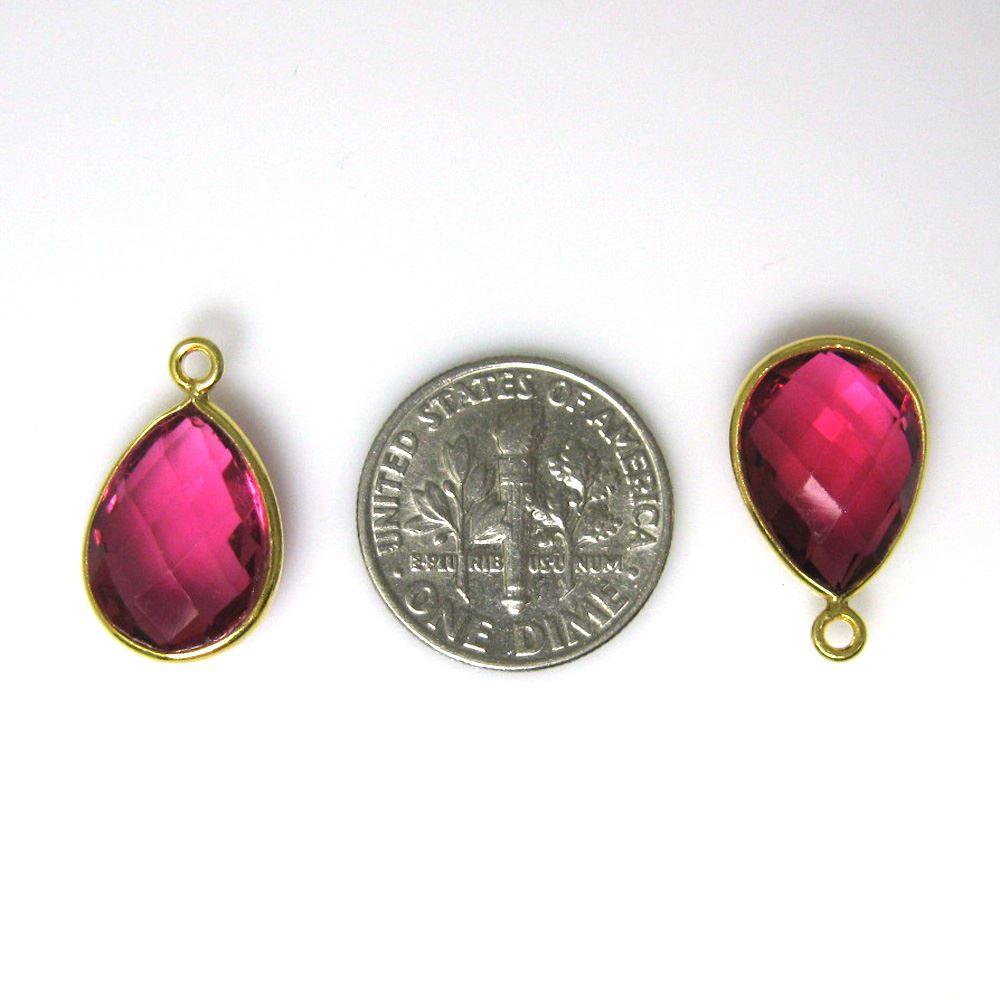 Bezel Gemstone Pendant - 10x14mm Faceted Small Teardop Shape - Rubylite Quartz  (Sold per 2 pieces)