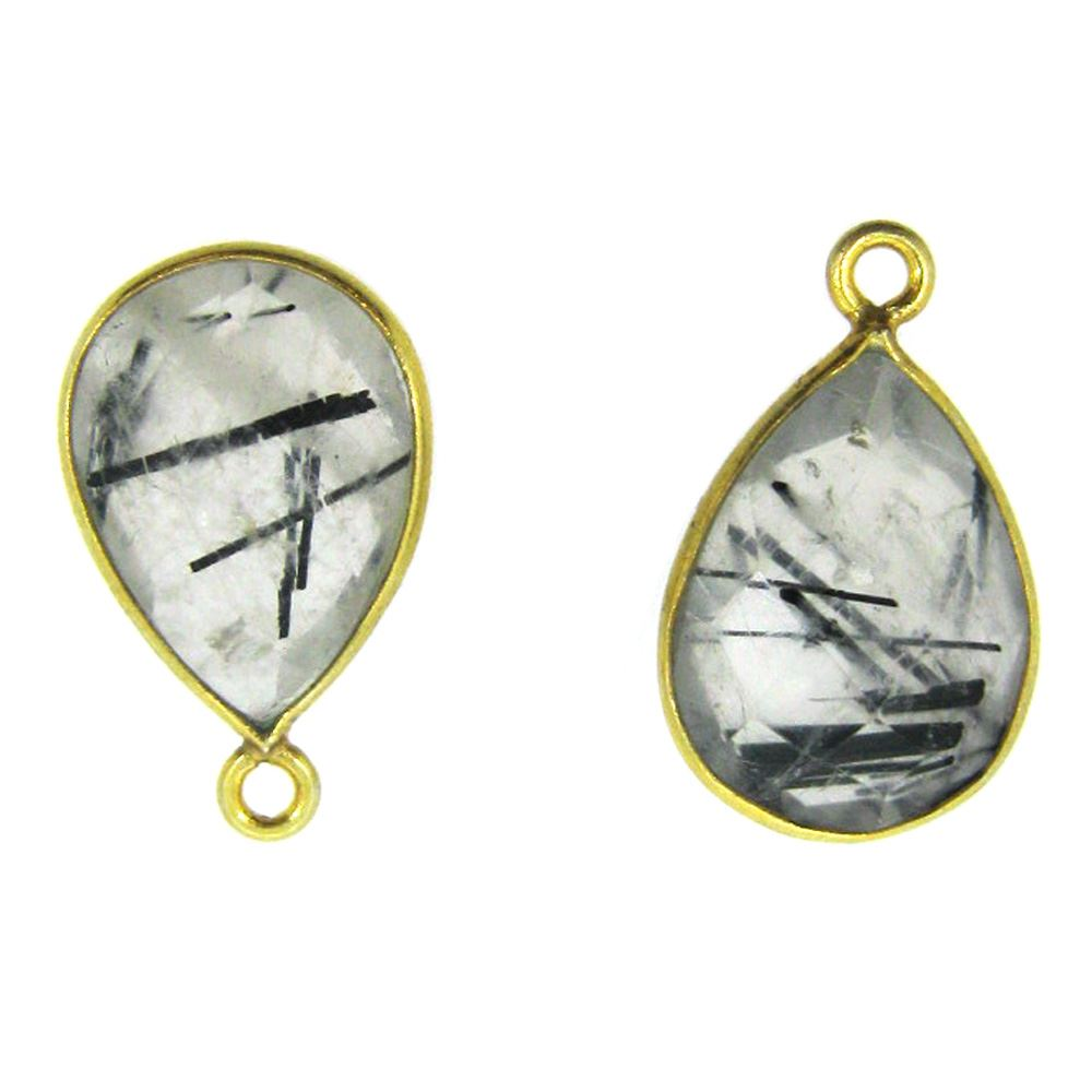Bezel Gemstone Pendant - 10x14mm Faceted Small Teardop Shape - Black Rutilated Quartz  (Sold per 2 pieces)