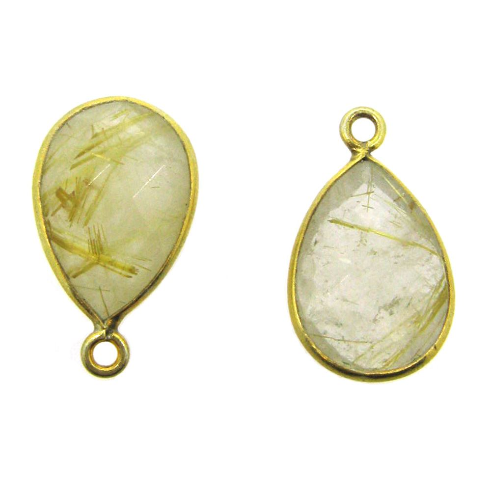 Bezel Gemstone Pendant - 10x14mm Faceted Small Teardop Shape - Gold Rutilated Quartz  (Sold per 2 pieces)