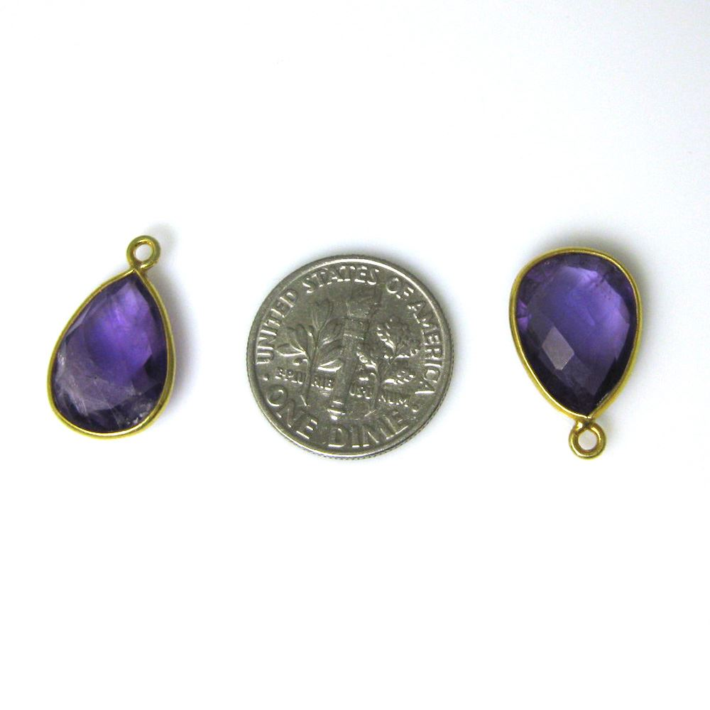 Bezel Gemstone Pendant - 10x14mm Faceted Small Teardop Shape - Natural Amethyst Quartz  (Sold per 2 pieces)