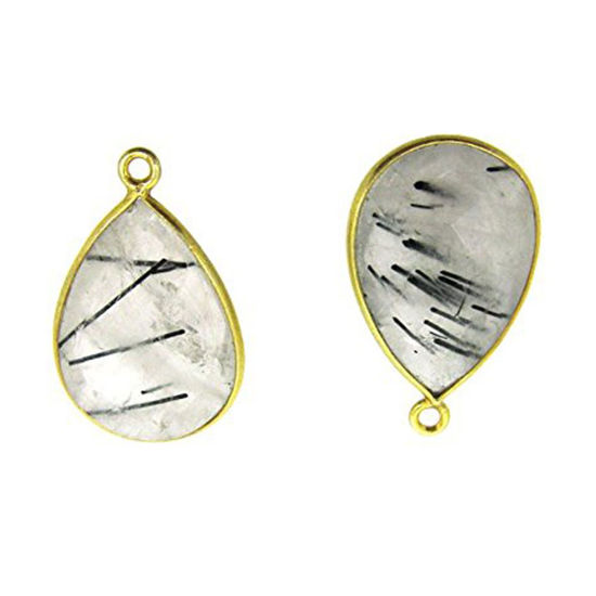 Bezel Gemstone Pendant - 13x18mm Faceted Pear Shape - Black Rutilated Quartz (Sold per 2 pieces)