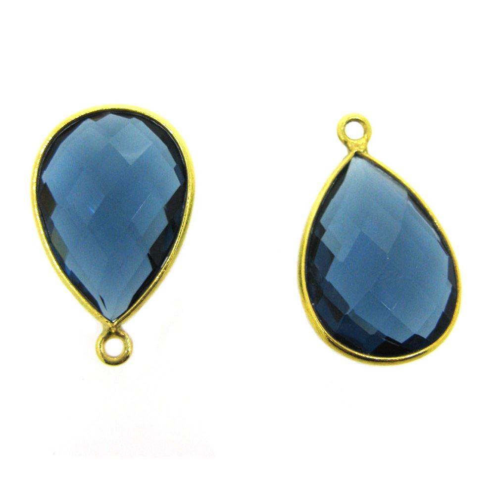 Bezel Gemstone Pendant - 13x18mm Faceted Pear Shape - Blue Iolite Quartz (Sold per 2 pieces)