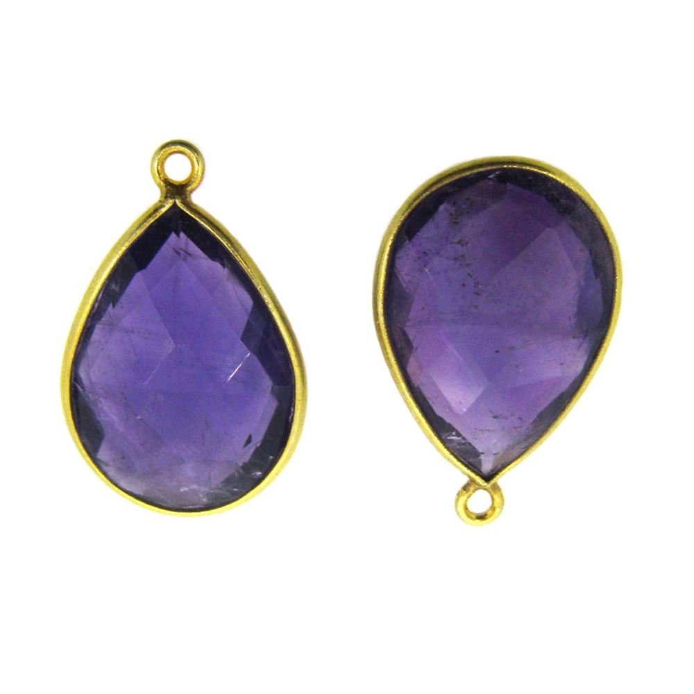 Bezel Gemstone Pendant - 13x18mm Faceted Pear Shape - Natural Amethyst Quartz (Sold per 2 pieces)