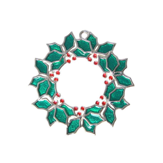 sterling silver enamel Christmas wreath charm