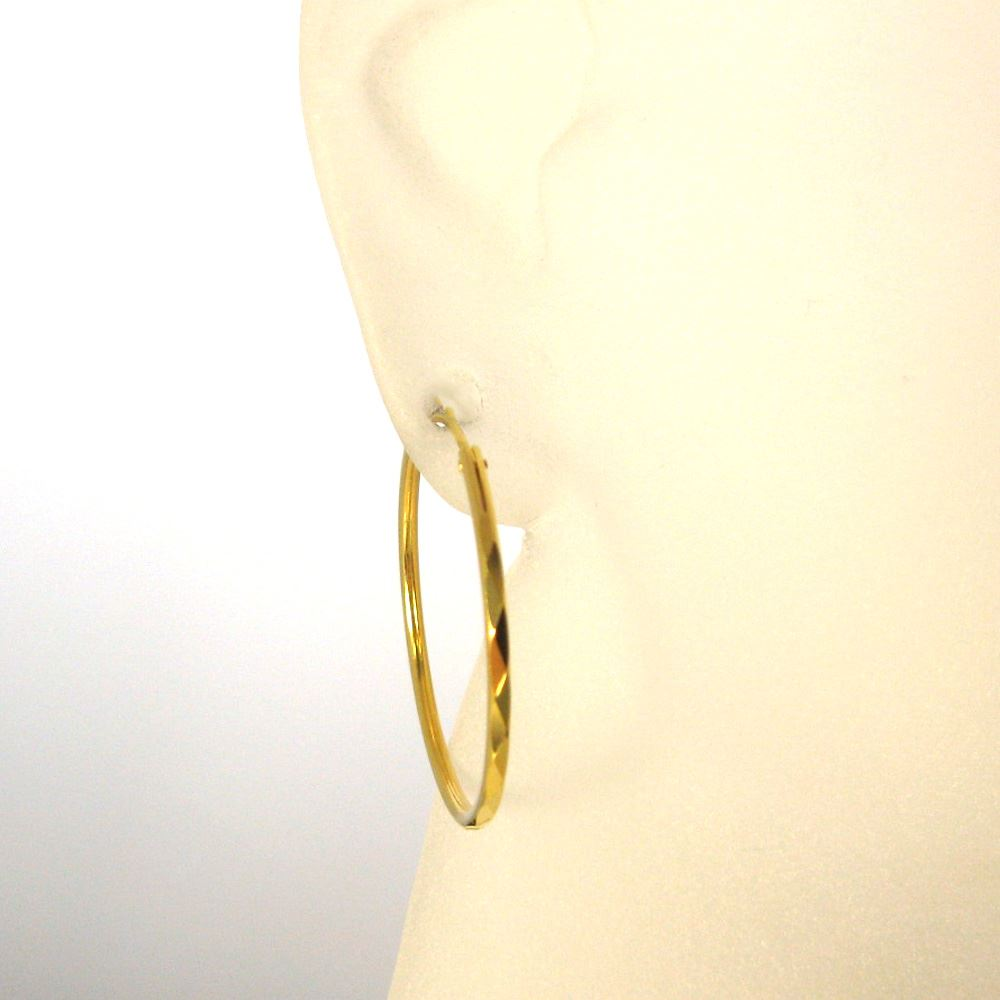 22K Gold plated over Sterling Silver Earrings Hoops-Lovely Textured Round Hoops-30mm ( 2 pcs - 1 pair )