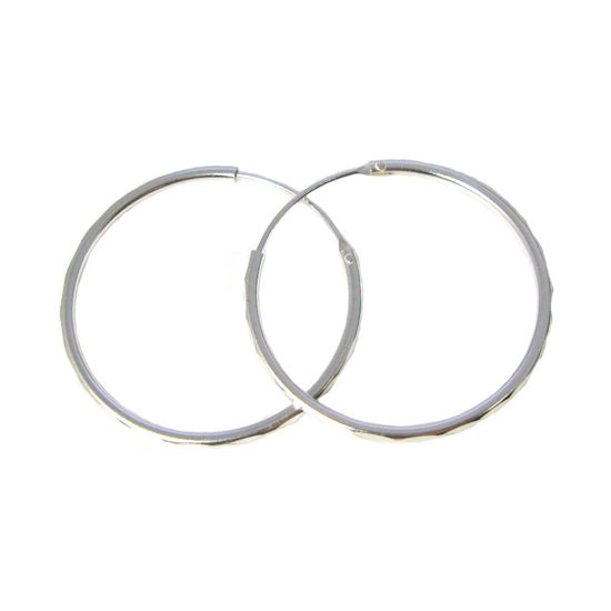 Sterling Silver Earrings Hoops-Lovely Textured Round Hoops-30mm ( 2 pcs - 1 pair )