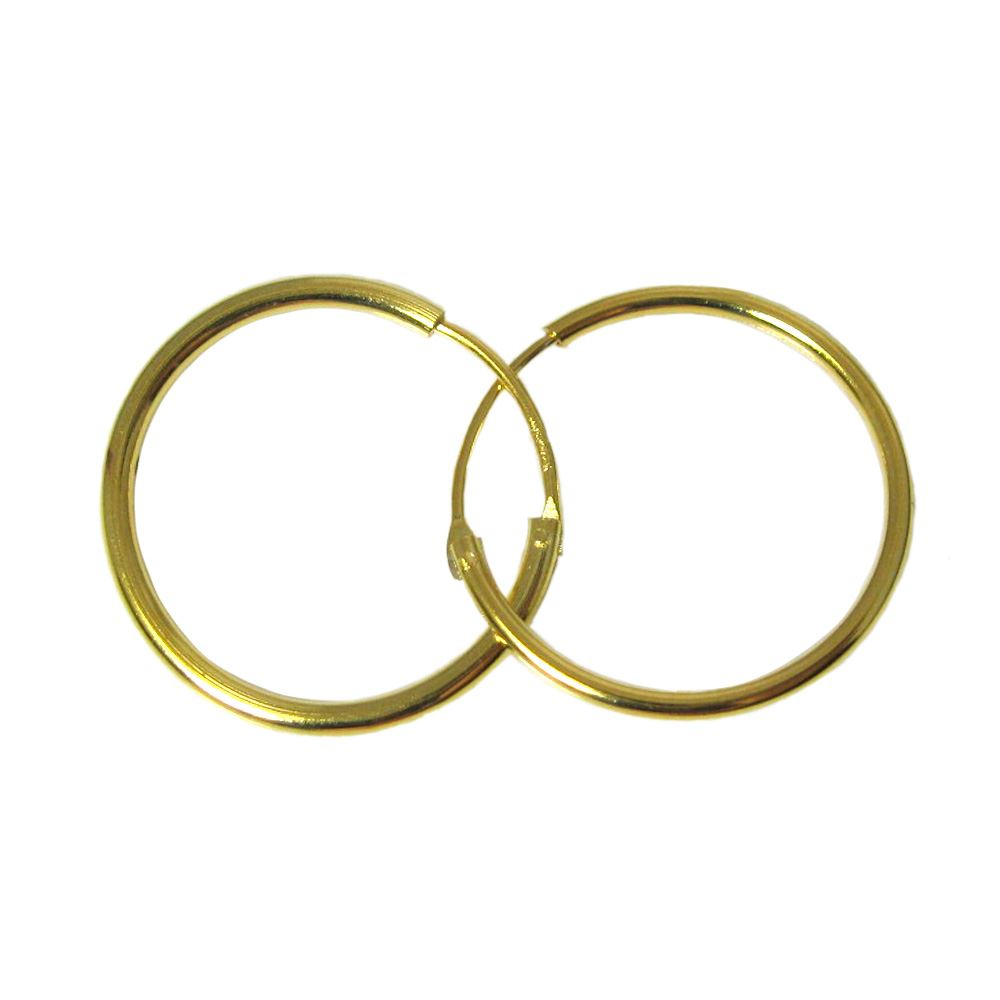 Gold Plated Sterling Silver Earrings- Strong Hoops- 20mm(sold per pair)