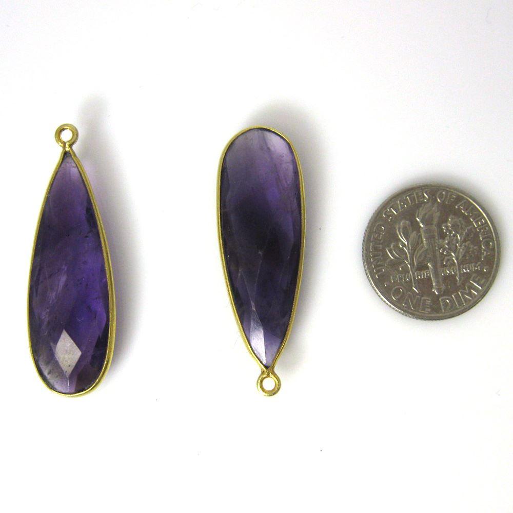 Bezel Charm Pendant-Vermeil Charm-Gold Plated - Natural Amethyst Quartz-Elongated Teardrop-34 by11mm (Sold per 2 pieces)