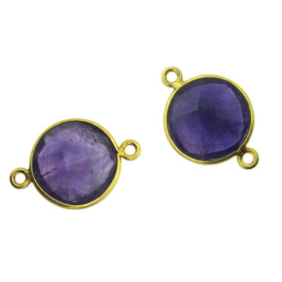 Bezel Gemstone Links - Vermeil - Faceted Coin Shape - Natural Amethyst Quartz (Sold per 2 pieces)