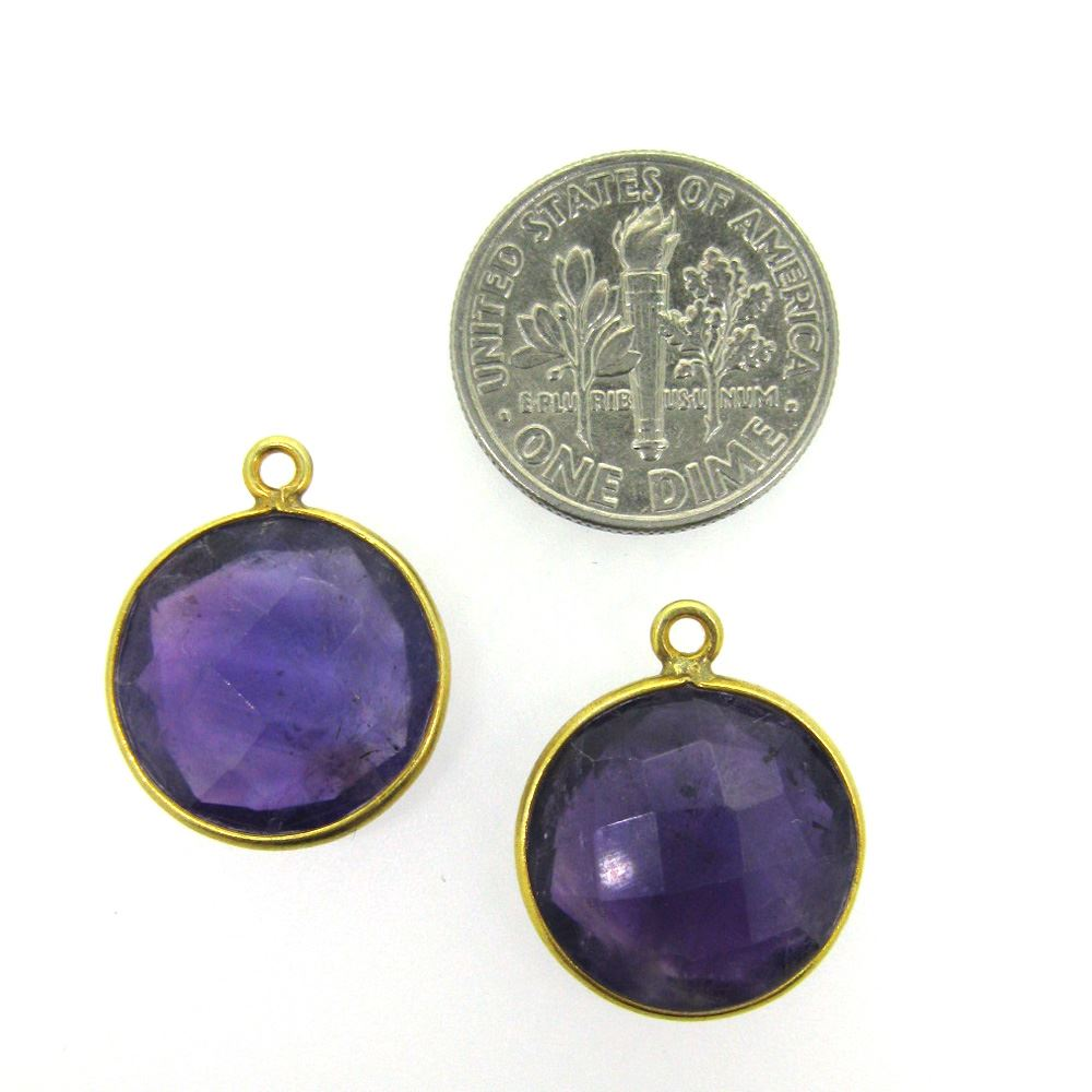 Bezel Gemstone Pendant - 14mm Faceted Coin Shape - Natural Amethyst Quartz (Sold per 2 pieces)