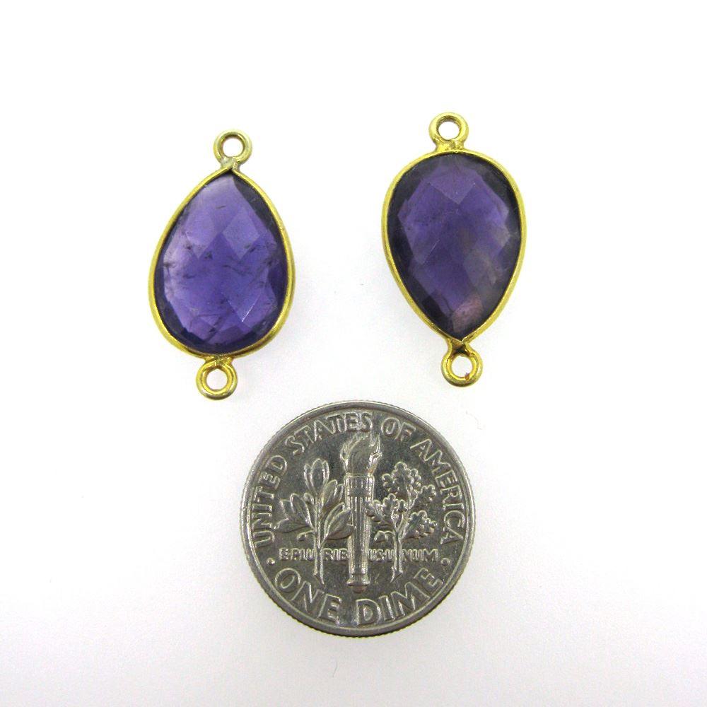 Bezel Gemstone Links - 10x14mm Faceted Pear - Natural Amethyst Quartz (Sold per 2 pieces)