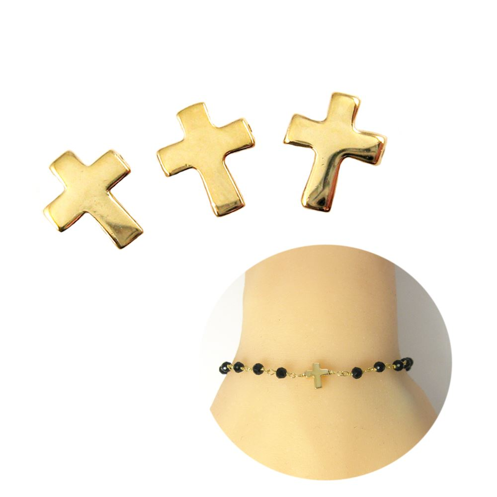 22K Gold plated Sterling Silver Tiny Cross Charm Connector, 7mm ( Sold per 5 pieces)