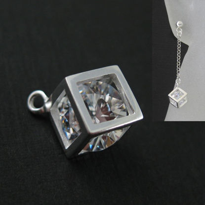 Cube Charm-Box Charm-Cube With CZ Stone-Sterling Silver Diamond Cube