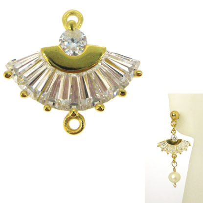 22K Gold plated 925 Sterling Silver Charm-CZ Cubic Zirconia Oriental Hand Fan Connector- Gold Connector Link- 13mm ( 1 pc)